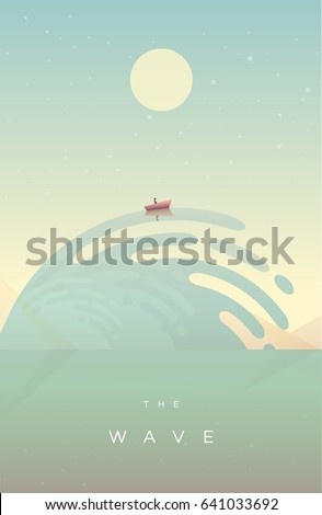 Modern minimal poster concept with small fishing boat riding a huge wave in retro style