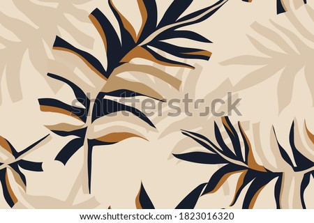 Modern minimalist abstract leaves illustration pattern. Creative collage contemporary seamless pattern. Fashionable template for design. Bohemian style.