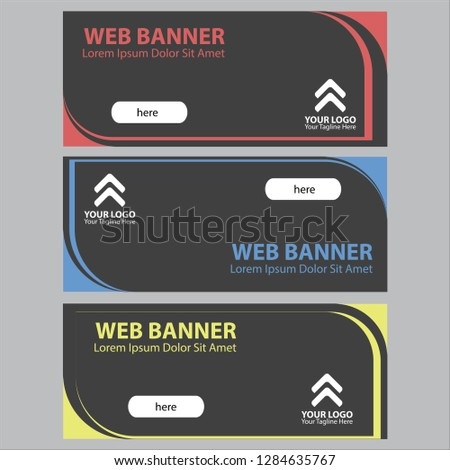 modern minimalist asymmetric horizontal web banner in three main color, business flyer for website and social media, abstract concept editable template, dark black background