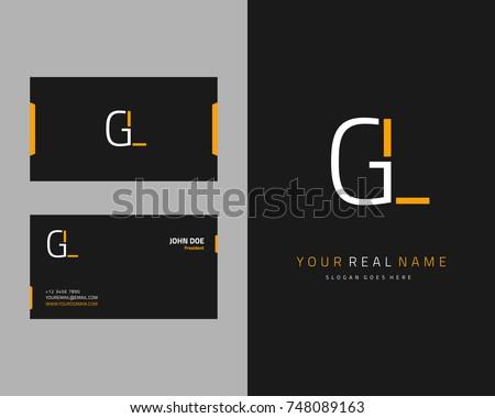 Modern minimalist initial G & L logo template vector Stok fotoğraf ©