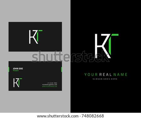 Modern minimalist initial K & T logo template vector Stok fotoğraf ©