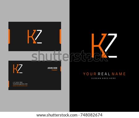 Modern minimalist initial K & Z logo template vector Stok fotoğraf ©