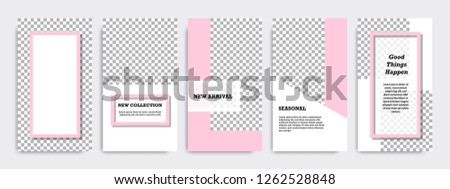 Modern minimalist pink and white background template for social media stories, story, business banner, flyer, brochure. #1262528848