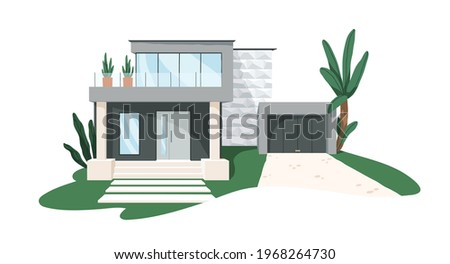 Modern minimalistic architecture of block house with garage. Building exterior of contemporary villa. Private real estate. Colored flat graphic vector illustration isolated on white background
