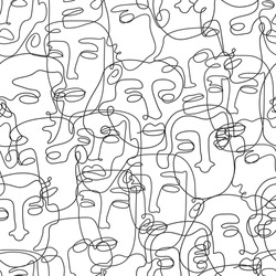 Modern minimalistic art seamless pattern of continuous line drawing faces. Vector trendy outline hand drawn portraits illustration