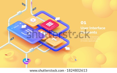 Modern mobile app user interface concept. 3D Smartphone on a yellow background with tools for creating a mobile interface. Mobile interface design. Modern vector illustration isometric style.