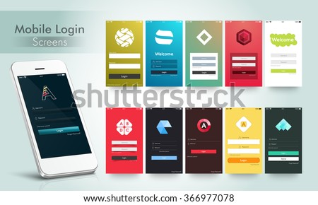 Modern Mobile Login and Welcome Screens User Interface kit in multiple colors for Responsive Website, Webpage, Designing and Mobile Apps.