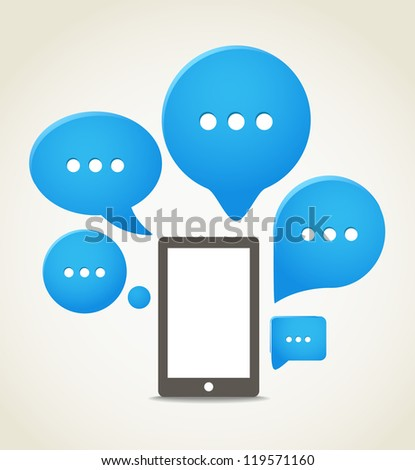 Modern mobile phone with group of speech clouds
