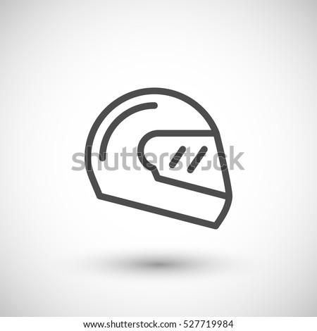 Modern motorcycle helmet line icon