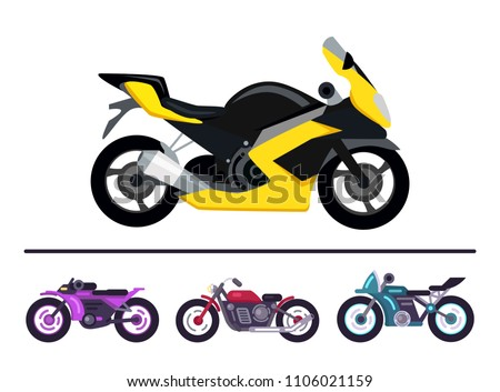 Modern motorcycles design yellow scooter and set motorbikes of different purple red and blue color, bike models of fashionable style, street racer vehicles