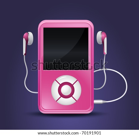 modern mp3 player with earphones