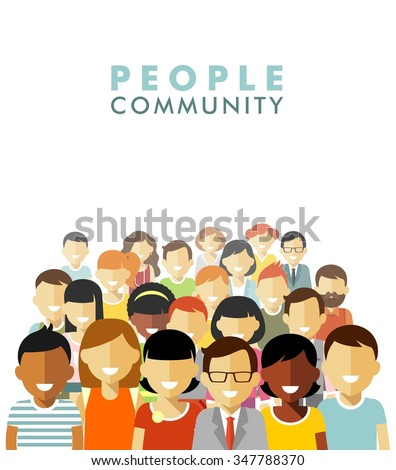 Modern multicultural society concept. Group of different people in community isolated on white background in flat style