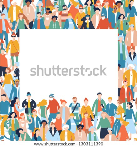 Modern multicultural society concept with crowd of people and blank banner with copy space for text. Group of different people in community standing together and holding empty placard