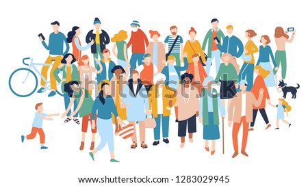 Modern multicultural society concept with crowd of people. Group of different people in community isolated on white background.