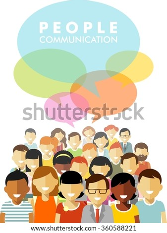Modern multicultural society concept with group of different people in community discussion and speech bubble in flat style isolated on white background