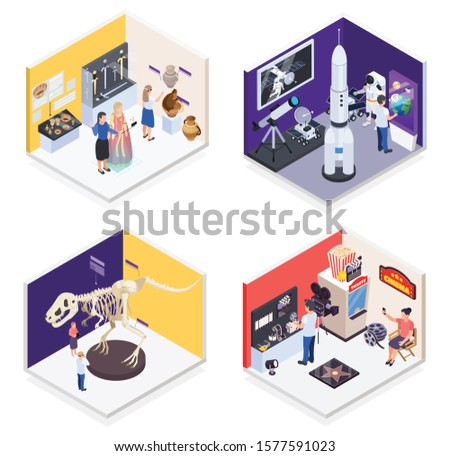 Modern museum 4 isometric compositions with prehistoric times dinosaur space mission retro cinema exhibits isolated vector illustration