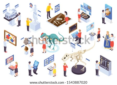 Modern museum technology isometric set with virtual reality interactive exhibits reconstruction dinosaurs amphora info displays vector illustration
