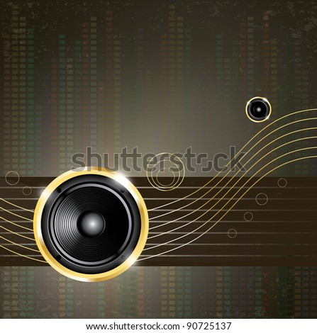 Modern music background with golden speaker on lines