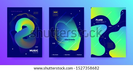 Modern Music Design. Gradient Lines. House Concert. Trendy 3d Flow Template. Blue Music Flyer. Futuristic Pattern. Techno Festival. Green 3d Flow Background. Colorful Music Poster.