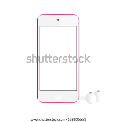 Modern music player Apple iPod Touch with headphones isolated on white background - front view. Blank screen to showcase your design. Vector illusration
