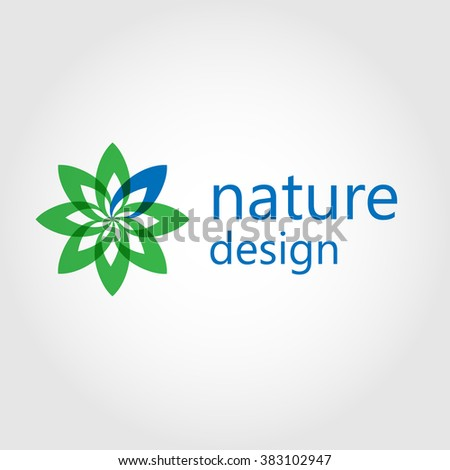 Modern nature logo design with flower symbol in green and blue colors.