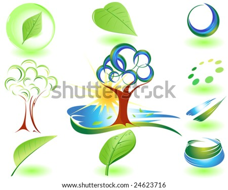 Modern nature symbol composition