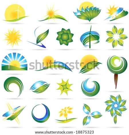 Modern nature symbol set
