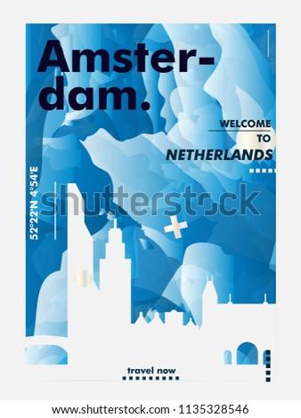 Modern Netherlands Amsterdam skyline abstract gradient poster art. Travel guide cover city vector illustration