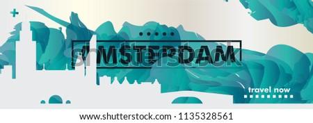 Modern Netherlands Amsterdam skyline abstract gradient website banner art. Travel guide cover city vector illustration