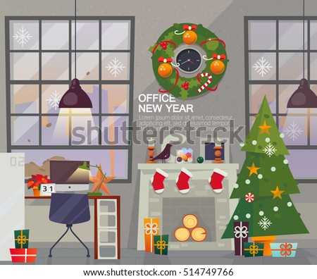 Modern New Year Office Interior Workplace With Holiday Decorations Vector Flat Style Merry Christmas