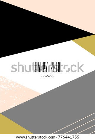 Modern New Year's greeting card template with text Happy 2018 and geometric elements in black, white, gray and pastel pink.