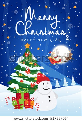 Modern Nice Detail Merry Christmas Card Santa Claus Illustration ...
