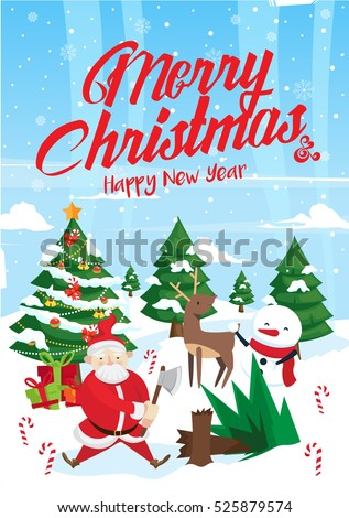 Modern nice detail merry christmas card santa claus illustration modern nice detail merry christmas card santa claus illustration suitable for brochure flyer m4hsunfo