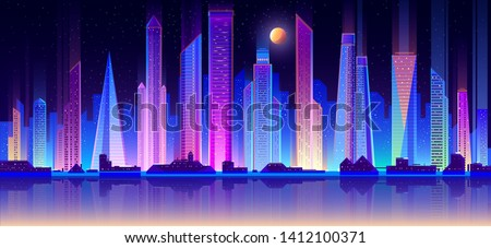 Modern night city skyline neon color flat vector with full moon in starry sky, downtown illuminated skyscrapers reflection in metropolis quay illustration. Urban architecture, real estate background