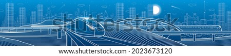 Modern night town, neon town panoramic. Train rides. City Infrastructure and transport illustration. Urban scene. Vector design art. White lines on blue background