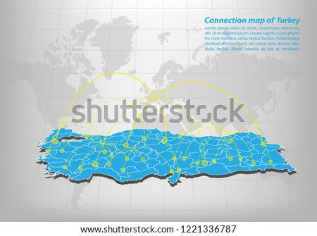 Modern of turkey Map connections network design, Best Internet Concept of turkey map business from concepts series, map point and line composition. Infographic map. Vector Illustration.