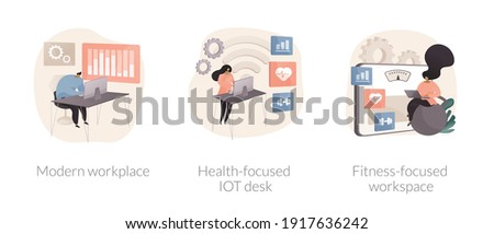 Modern office abstract concept vector illustration set. Modern workplace, health-focused IOT desks, fitness-focused lifestyle, employee happiness and well-being, activity tracking abstract metaphor. Foto stock ©