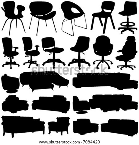 Office Interior Design on Modern Office Chair And Armchair Vector  Interior Design Objects
