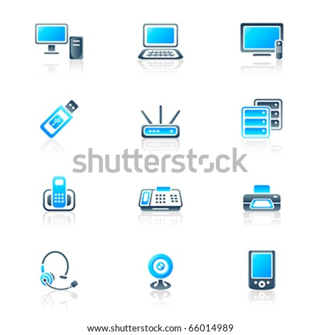 Modern office electronics icon-set in blue-gray colors
