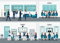 Modern office interior room with office desk and Business meeting or teamwork, brainstorming in flat style vector illustration.