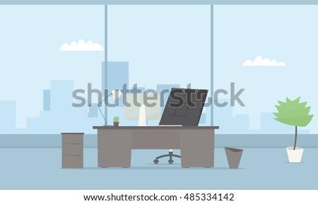 modern office interior. Vector simple image - Shutterstock ID 485334142