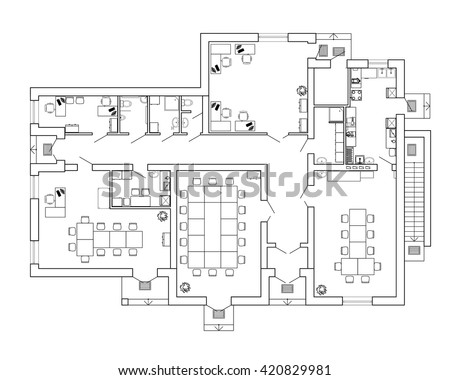 Modern office interior with furniture. Vector blueprint. Architectural background.