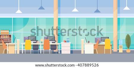 Modern Office Interior Workplace Desk Flat Vector Illustration