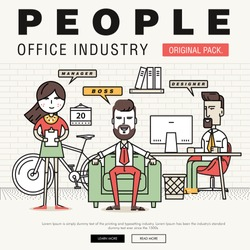 Modern office people industry. Thin line business day concept. Coworking creative and meeting teamwork elements. Corporate human infographics and icons idea concept symbol.