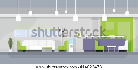 Modern Office Waiting Room Interior Flat Design Vector Illustration