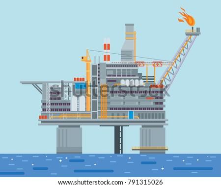 modern offshore oil rig