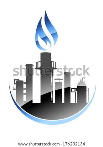 Modern oil refinery or industrial plant logo icon with tall smokestacks or chimneys with the central one emitting a burning flame