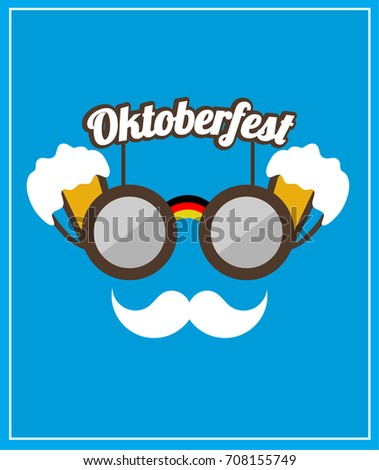 Modern oktoberfest logo design with beer mugs, glasses and mustache. Vector illustration in the blue background. Eps 10