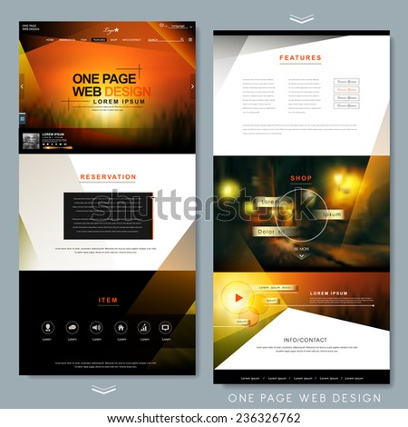 modern one page website template design with blurred background stock