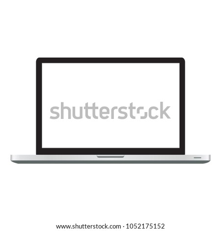 Modern open laptop with blank screen isolated on white background. Realistic laptop mockup. Computer screen front view. Vector illustration